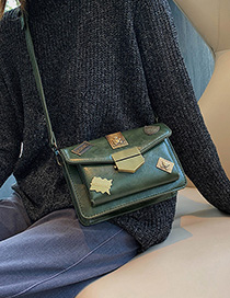 Fashion Green Badge Lock Diagonal Shoulder Bag