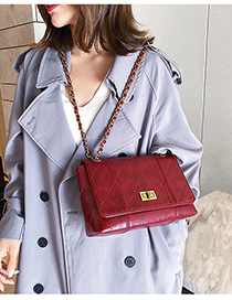 Fashion Red Rhombus Chain Shoulder Bag
