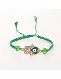 Fashion Green Alloy Diamond Palm Braided Bracelet
