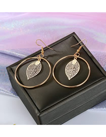Fashion Gold Round Openwork Leaf Earrings