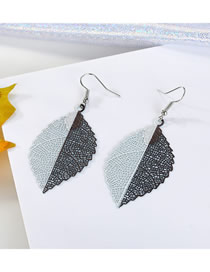 Fashion White + Coffee Color Geometric Carved Openwork Leaf Earrings