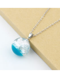 Fashion Blue And White Transparent Blue Sky And White Clouds Pattern Round Resin Necklace