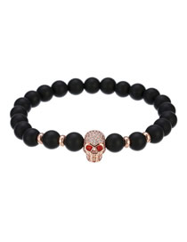 Fashion Rose Gold Frosted Stone Beaded Skull Bracelet