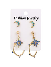 Fashion Gold 3 Pairs Of Diamond-studded Geometric C-shaped Earrings