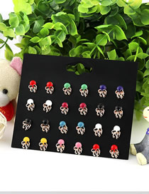 Fashion Color Small Oil Octopus Earrings Set