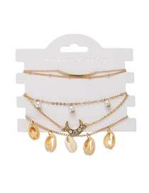Fashion Gold Natural Shell Pearl Moon Bracelet Set