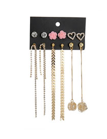 Fashion Gold Chain Fringed Pearl Heart-shaped Earrings 6 Pairs
