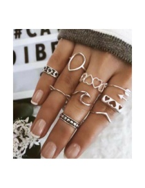 Fashion Silver Love Arrow Spray Cat Ears Flower Ring 8 Piece Set