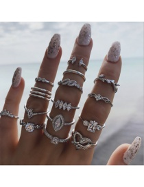 Fashion Silver Geometric Leaf Love Diamond Ring Set Of 15