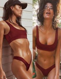 Fashion Red Wine Solid Color Split Swimsuit