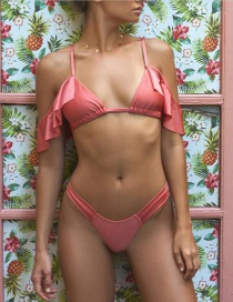 Fashion Pink Solid Color Flashing Split Swimsuit