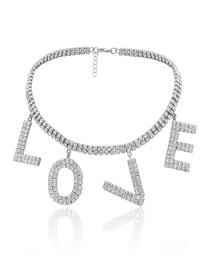 Fashion White K Geometric Love Letter Diamond Necklace