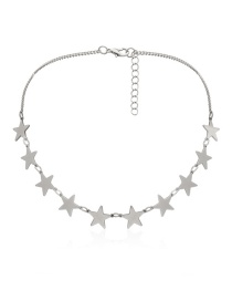 Fashion Star Single Layer White K Chain Opening Peach Heart Multi-layer Star Love Geometric Necklace