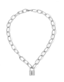 Fashion Necklace White K Thick Chain Lock Single Layer Necklace