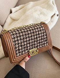 Fashion Khaki Chain Woolen Buckle Shoulder Bag