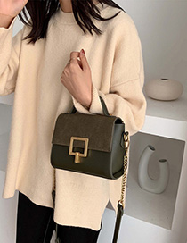 Fashion Green Scrub Lock Chain Shoulder Bag