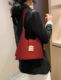 Fashion Red Triangle Crocodile Embossed Tote