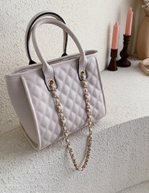 Fashion White Lingge Chain Pu Embroidery Line Shoulder Bag