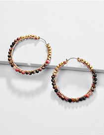 Fashion Powder Natural Stone Beads Woven C-shaped Round Earrings