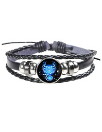 Fashion Scorpio Twelve Constellation Leather Bracelet