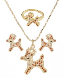 Fashion Gold Copper Inlaid Zircon Christmas Series Deer Necklace Earrings Ring Set Of 3