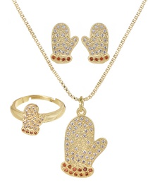 Fashion Gold Copper Inlaid Zircon Christmas Series Gloves Necklace Earrings Ring Set Of 3