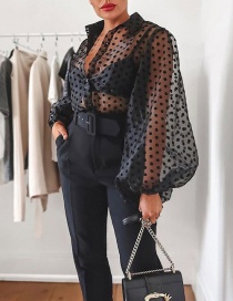 Fashion Black Cardigan Perspective Wave Mesh Shirt