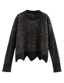 Fashion Black Ruffled Variegated Pullover Sweater