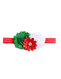 Fashion Red Multi-angle Flower Old Flower With Diamond Hair Band