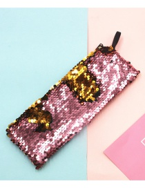 Fashion Gold + Light Pink Mermaid Two-color Sequin Pencil Case
