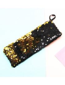 Fashion Black + Gold Mermaid Two-color Sequin Pencil Case