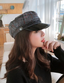 Fashion Black Snake Skin Checkered Beret