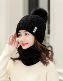Fashion Black Knitted Wool Hat Scarf One Suit