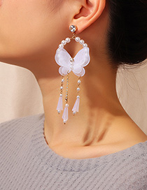 Fashion White Mesh Butterfly Crystal Tassel Earrings