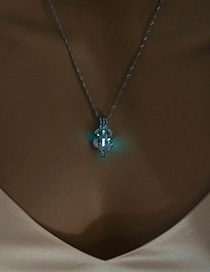 Fashion Blue Green Gold Coin Sign Luminous Necklace