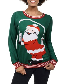 Fashion Green Christmas Old Cat Cartoon Print Sweater