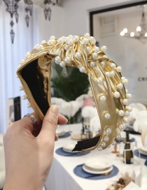 Fashion Yellow Heavy Metal Pu Imitation Leather Nails Knotted Wide-brimmed Headband
