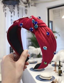 Fashion Red Gold Velvet Nail Rhinestone Color Knotted Wide-brimmed Headband