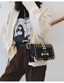 Fashion Black Rivet Chain Shoulder Diagonal Shoulder Bag