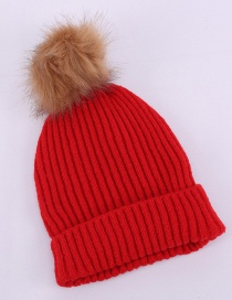 Fashion Red Faux Fox Fur Ball Vertical Knit Wool Hat