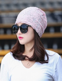 Fashion Pink Lace Flower Double-layer Cap