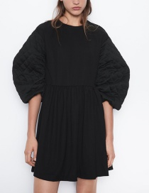 Fashion Black Fluffy Sleeve Dress