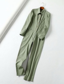 Fashion Armygreen Shirt Tooling Jumpsuit