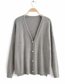 Fashion Gray Single-breasted Long-sleeved Cashmere Cardigan