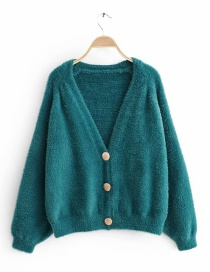 Fashion Lake Blue Imitation Water Velvet Plush Knit Cardigan
