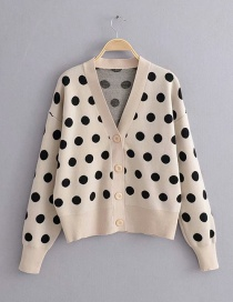 Fashion Khaki Polka Dot Cardigan Sweater