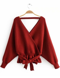 Fashion Red Wine Front And Rear V-neck Sweater