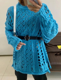 Fashion Blue Hollow Sweater