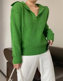 Fashion Green Polo Collar Sweater