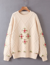 Fashion Beige Crocheted Flower Sweater Sweater
